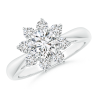 Round Lab Grown Diamond Floral Halo Ring with Tapered Shank
