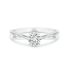 Tapered Shank Lab Grown Diamond Solitaire Ring with Accents
