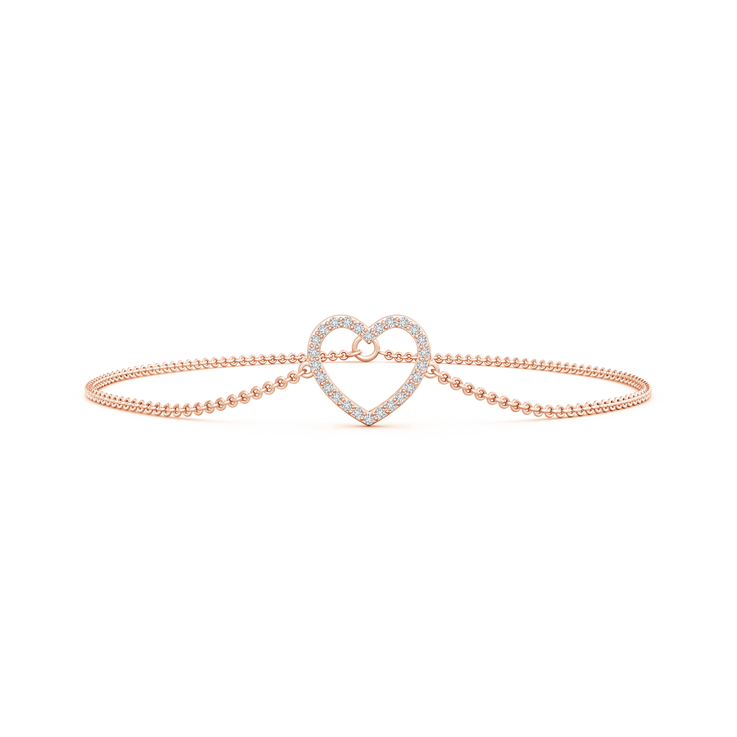 Lab Grown Diamond Studded Open Heart Link Bracelet - Main Image