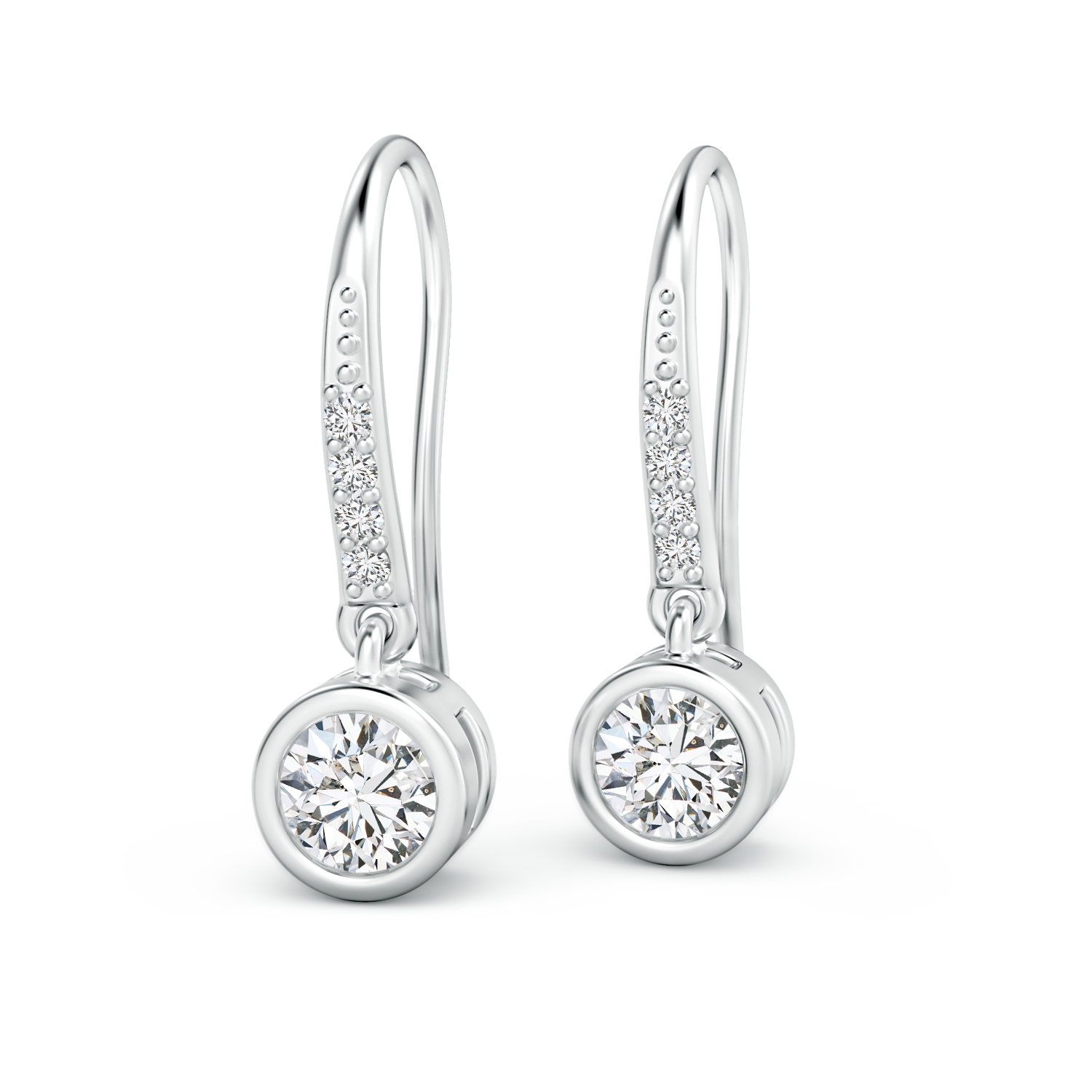 Bezel Set Lab Grown Diamond Solitaire Dangle Earrings  - Main Image