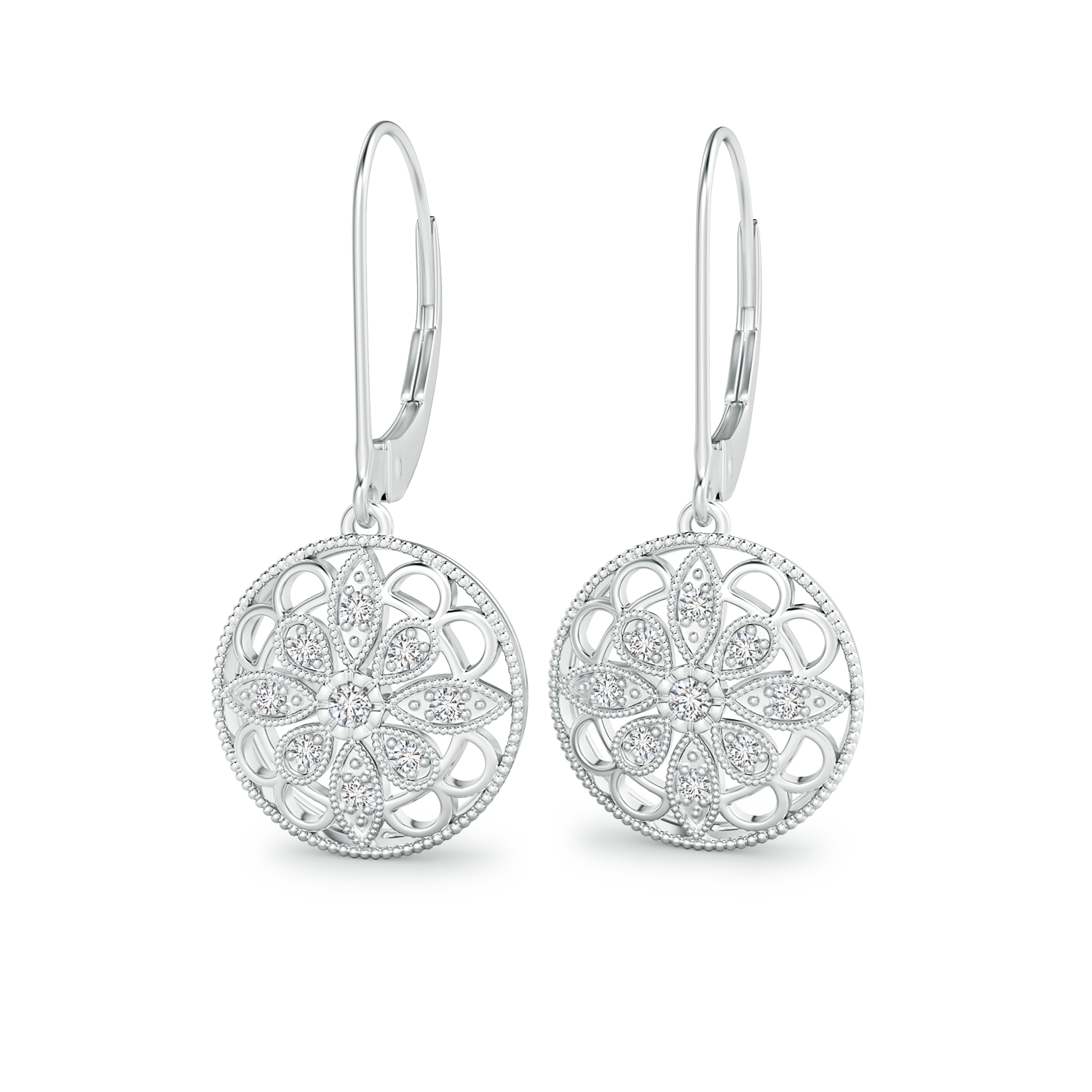 Lab Grown Diamond Lattice Drop Earrings with Milgrain Edges - Main Image