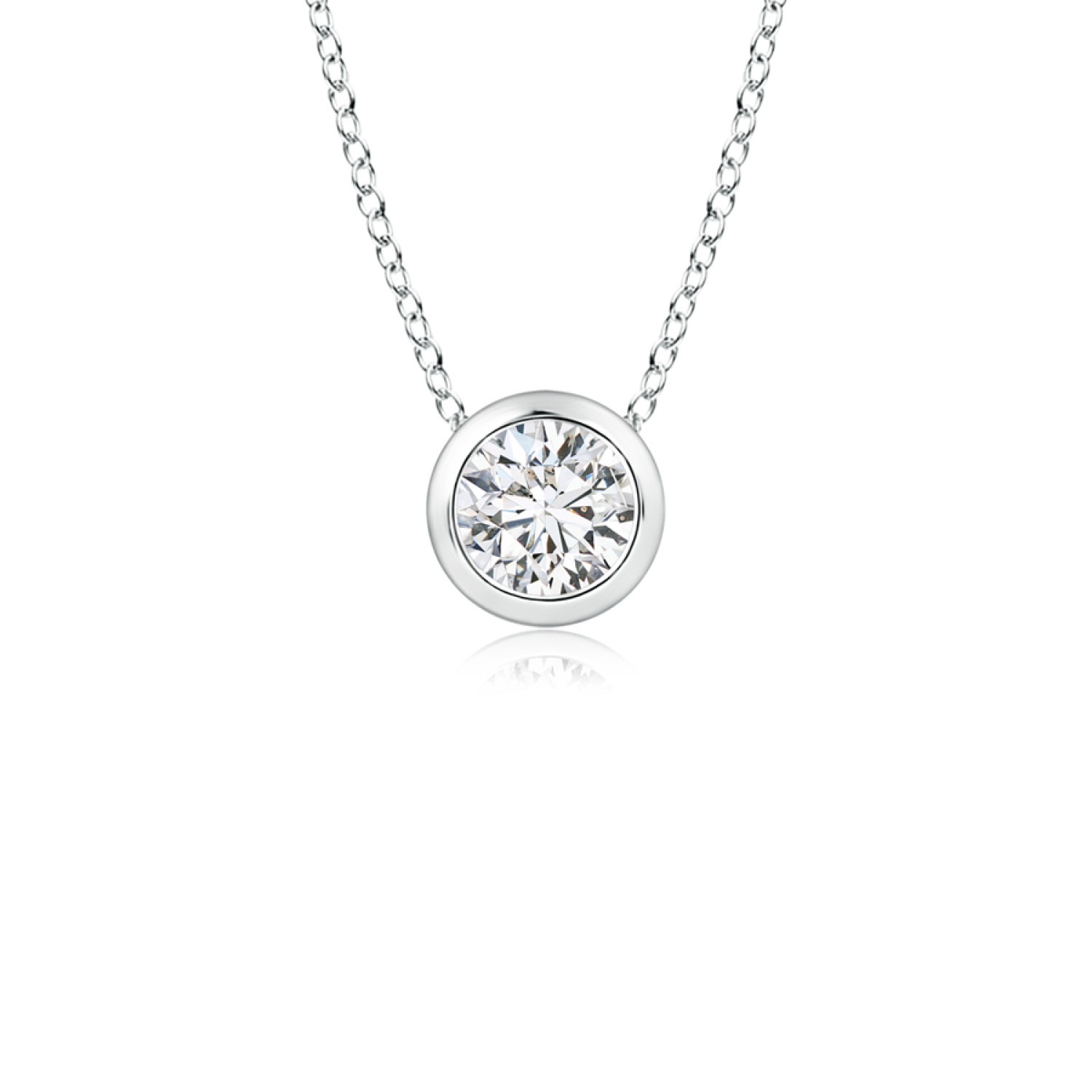 Bezel Set Round Lab Grown Diamond Solitaire Pendant - Main Image