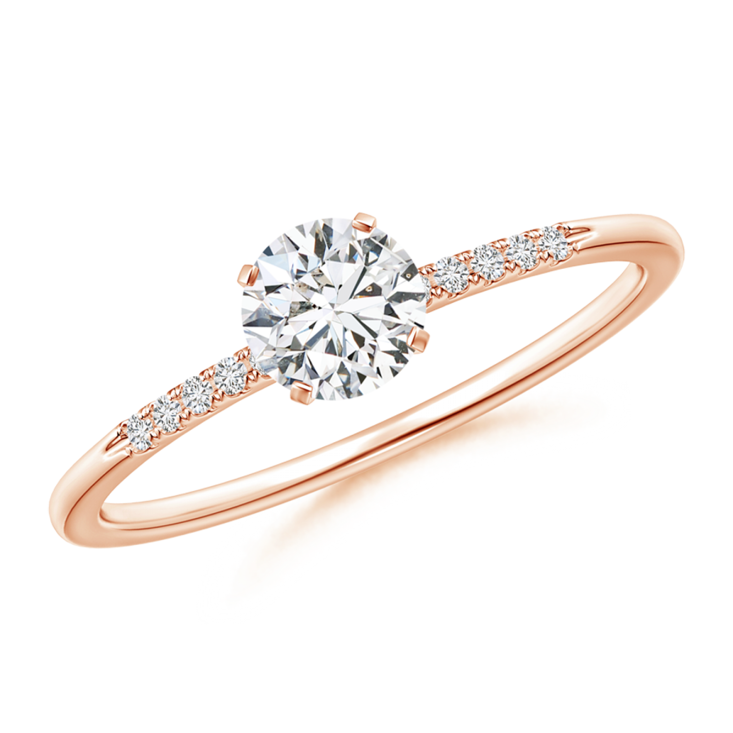 Classic Solitaire Round Lab Grown Diamond Ring with Accents - Side Image 3