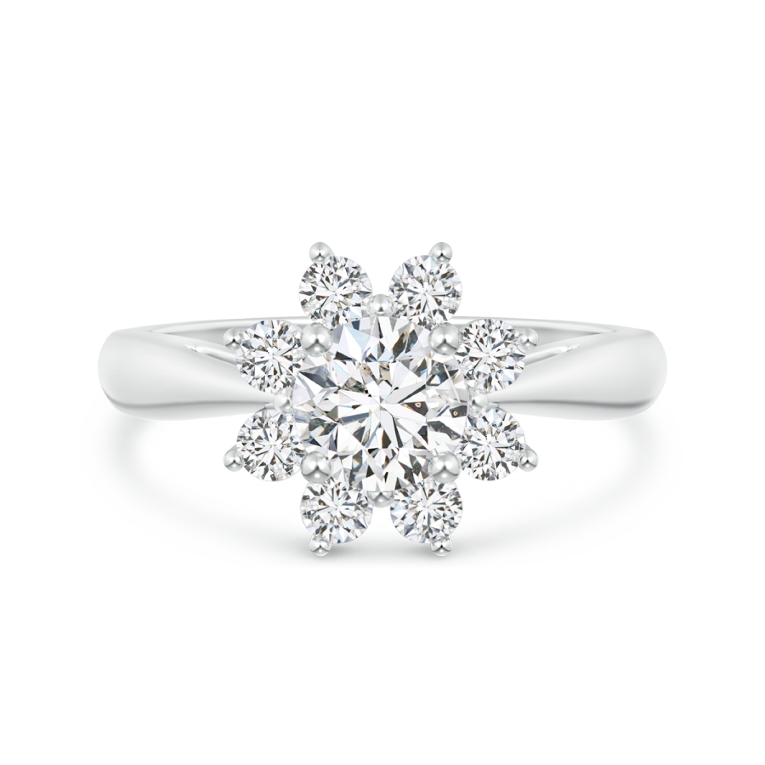 Round Lab Grown Diamond Floral Halo Ring with Tapered Shank - Main Image