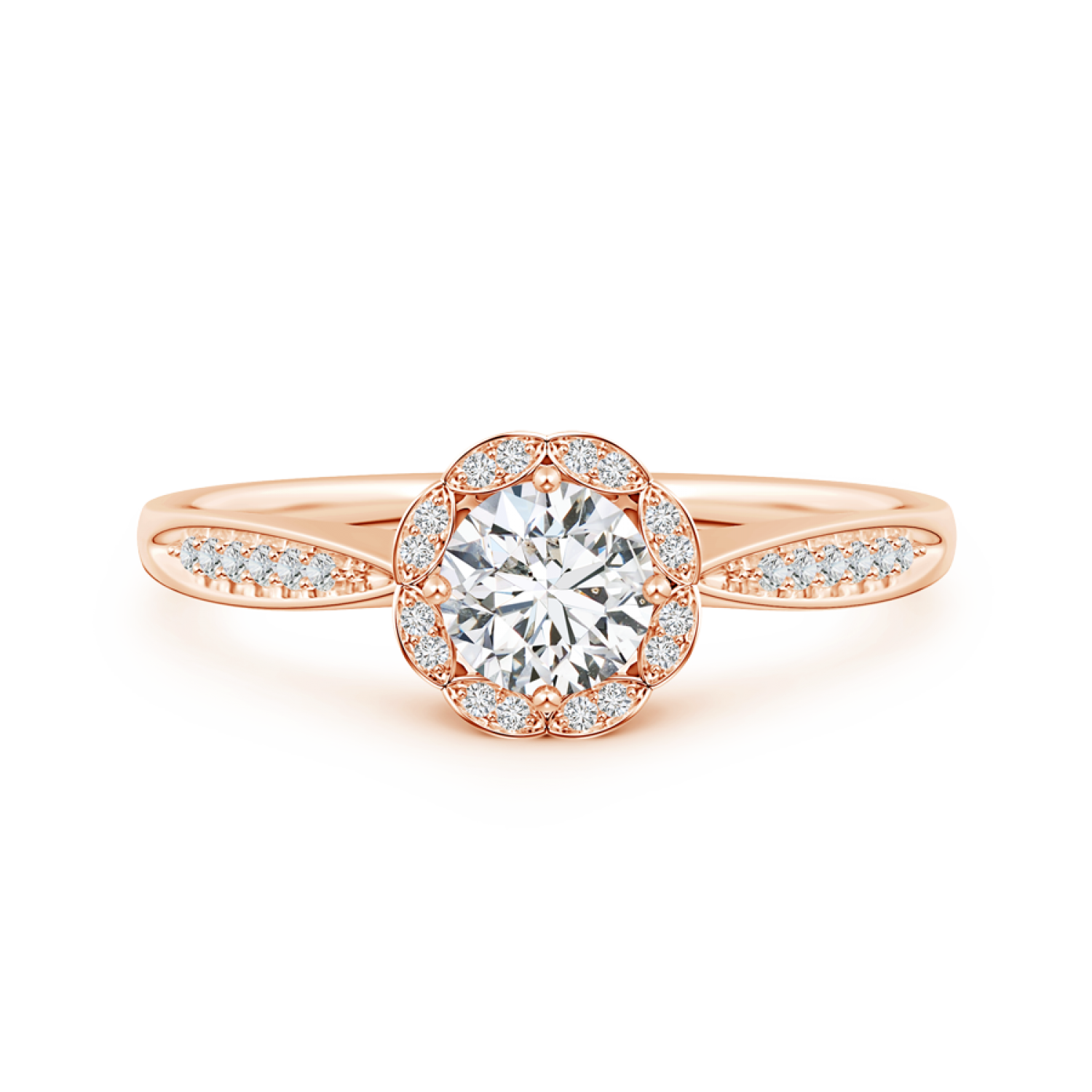 Round Lab Grown Diamond Scalloped Halo Ring with Leaf-Accents - Main Image