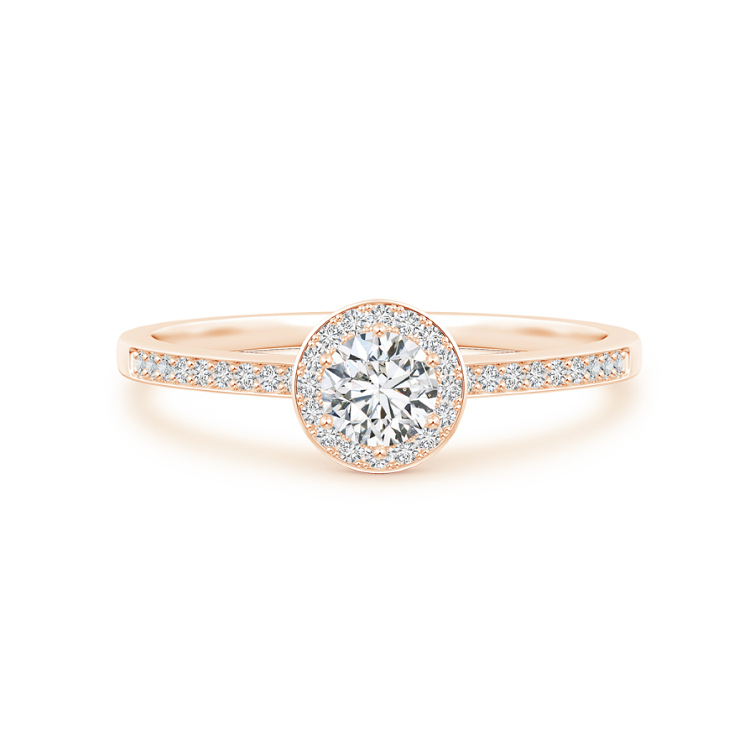 Lab Grown Diamond Round Halo Engagement Ring - Main Image