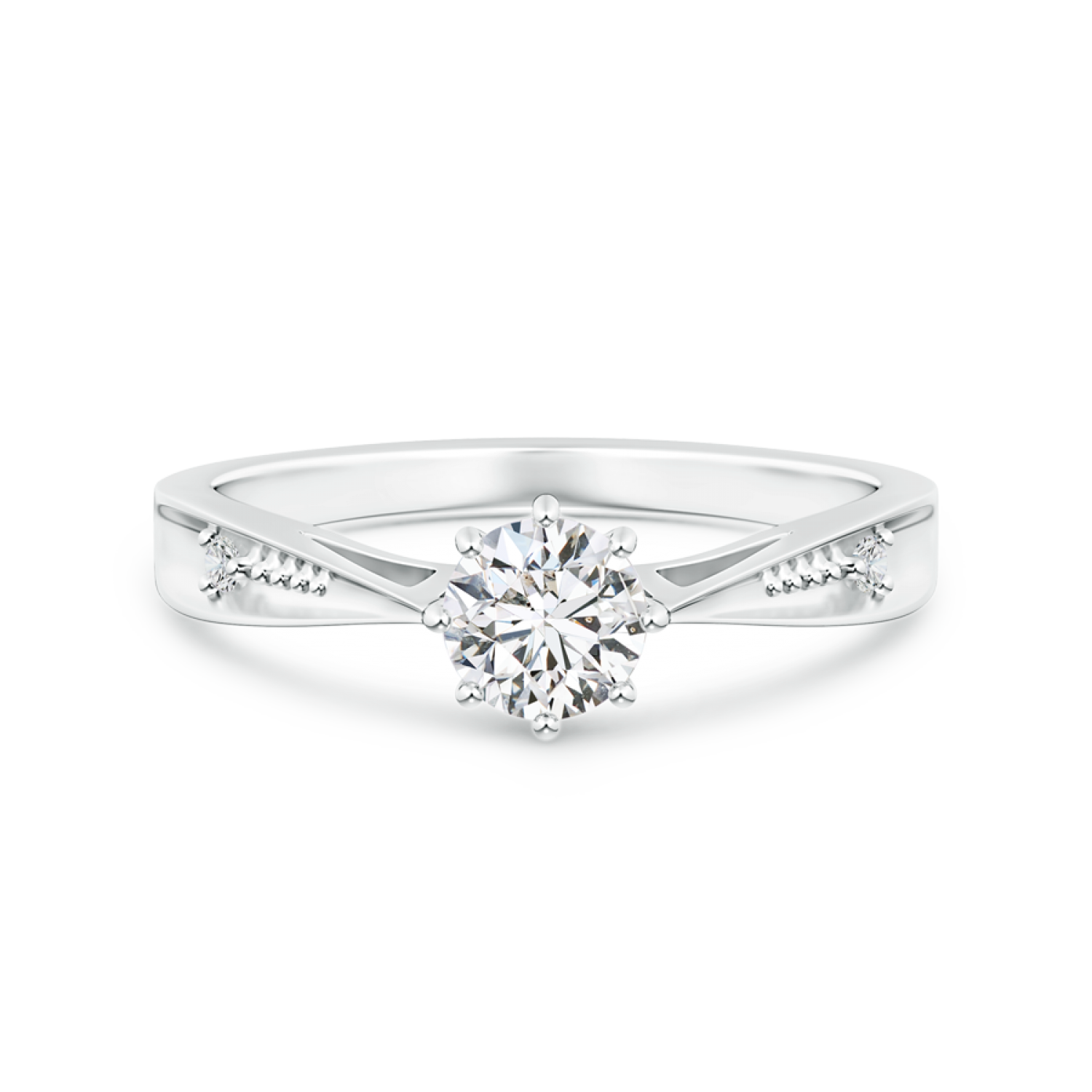 Tapered Shank Lab Grown Diamond Solitaire Ring with Accents - Main Image