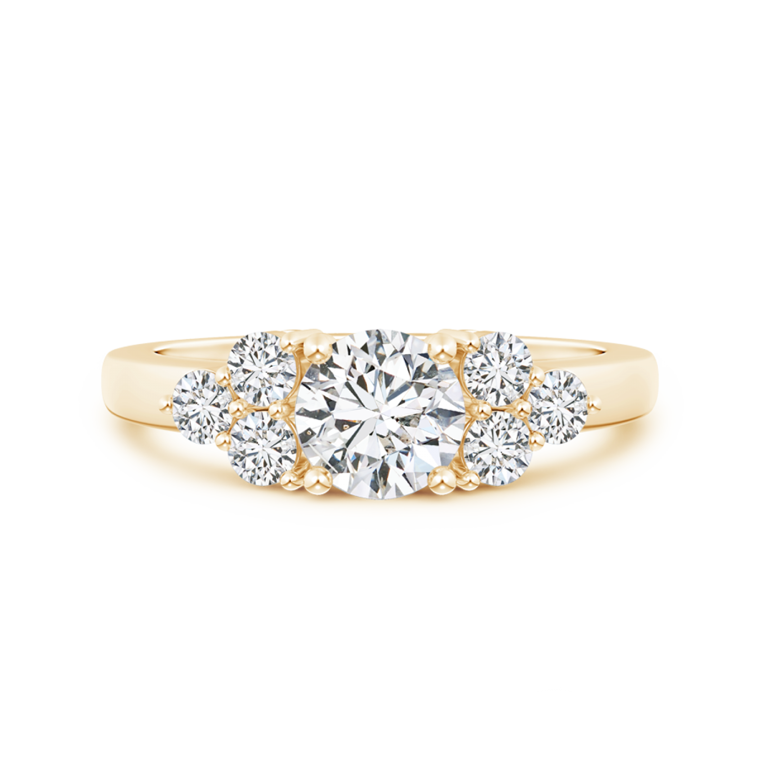 Round Lab Grown Diamond Solitaire Ring With Trio Accents - Main Image
