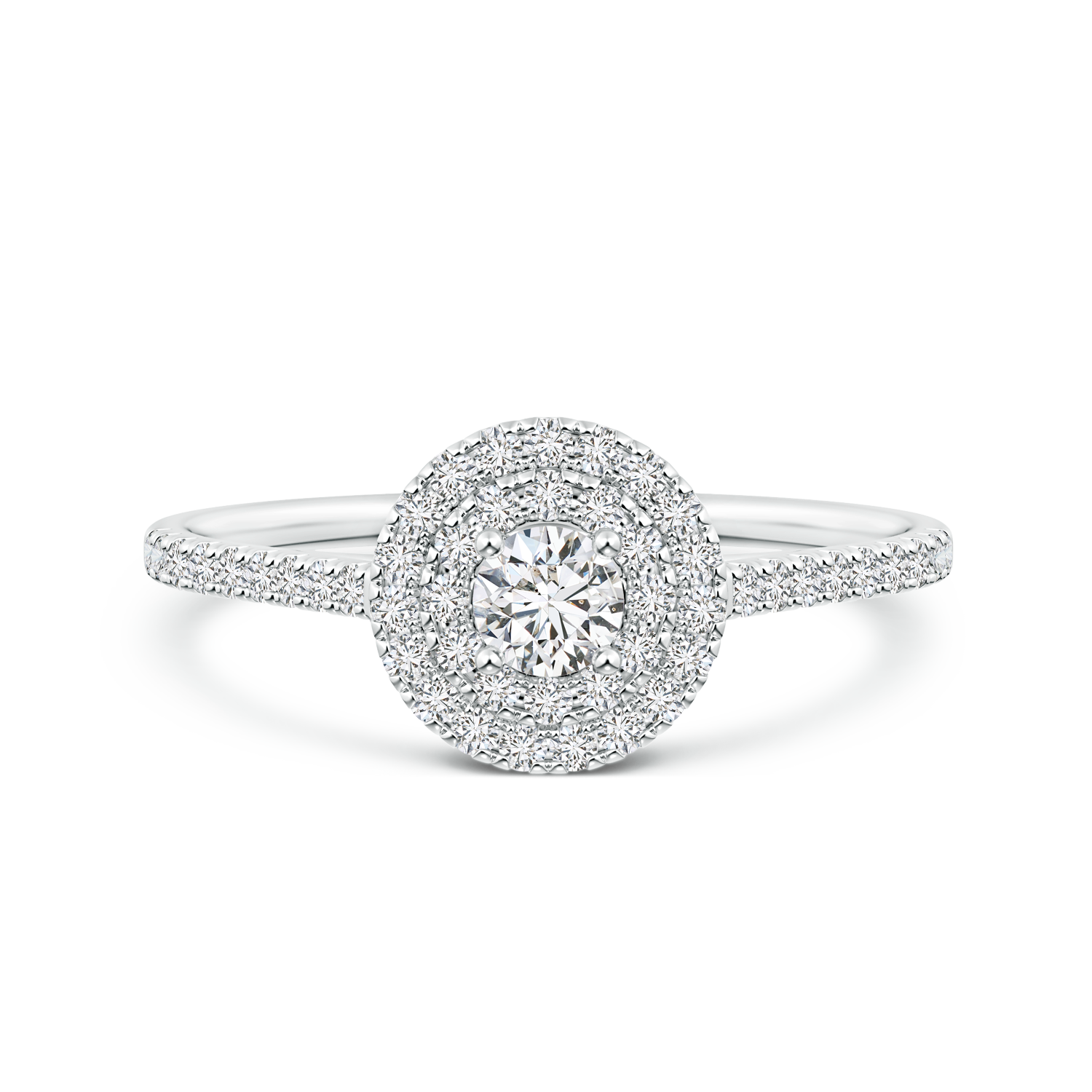 Round Lab Grown Diamond Double Halo Engagement Ring - Main Image
