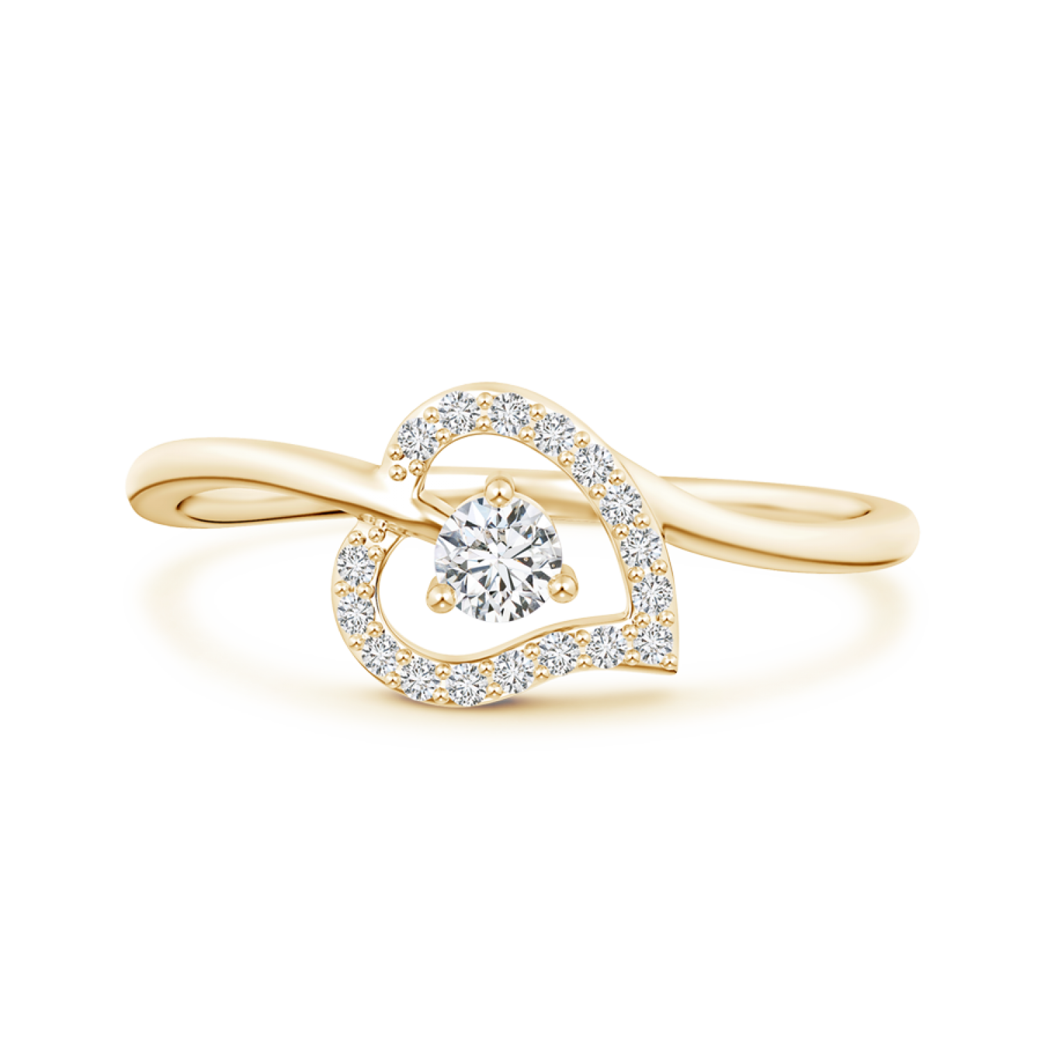 Open Heart Round Lab Grown Diamond Bypass Ring - Main Image