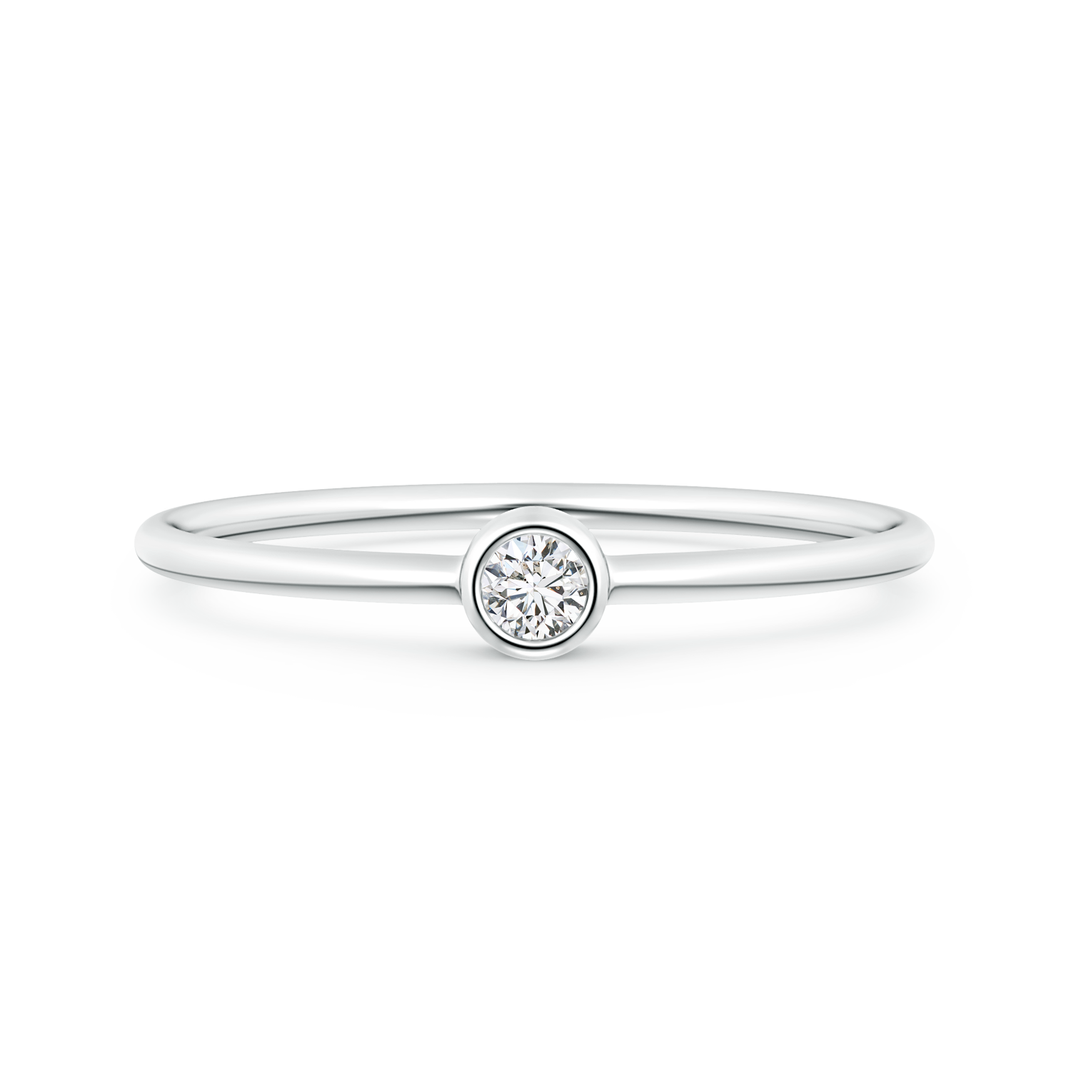Solitaire Lab Grown Round Diamond Stackable Ring - Main Image