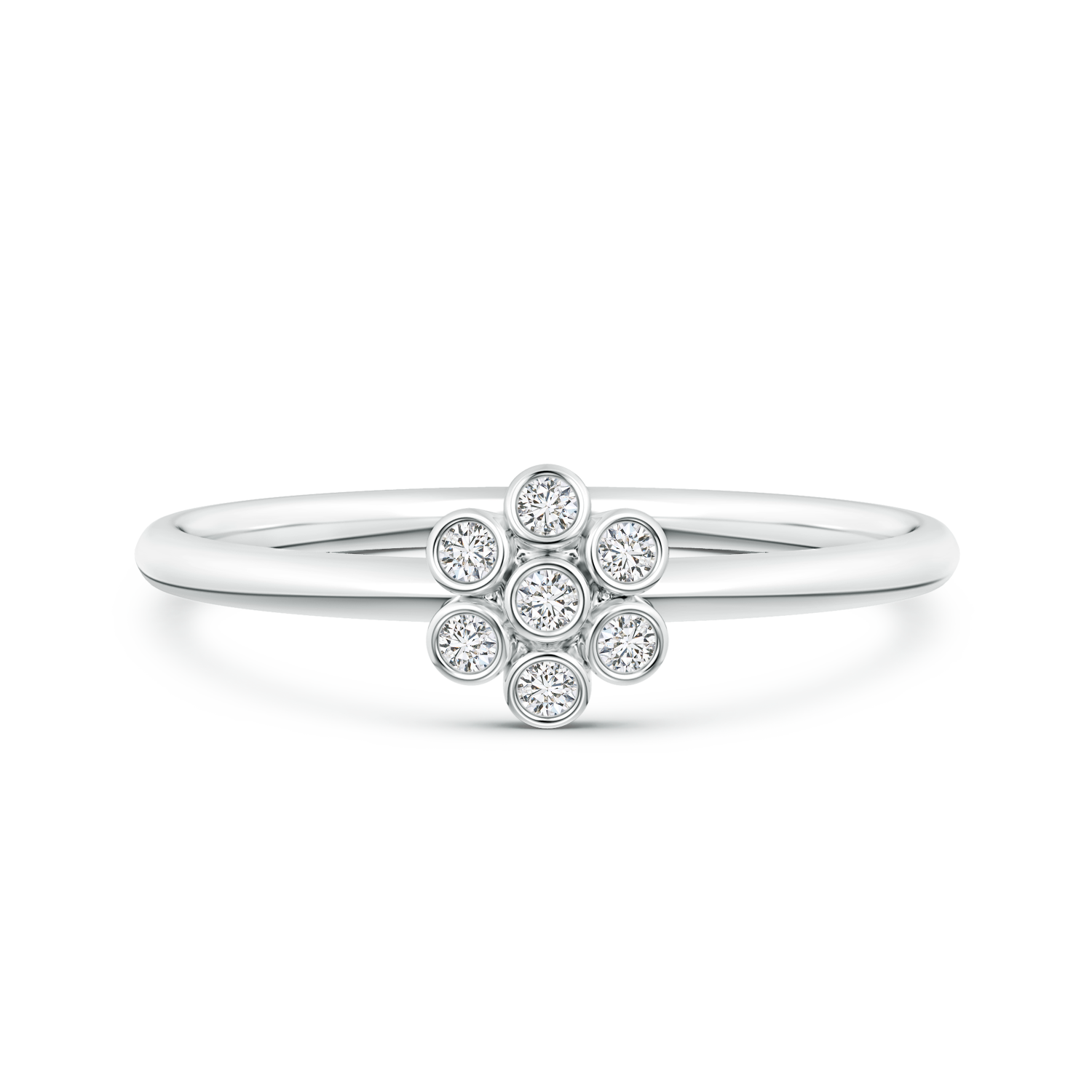 Round Lab Grown Diamond Floral Cluster Ring - Main Image