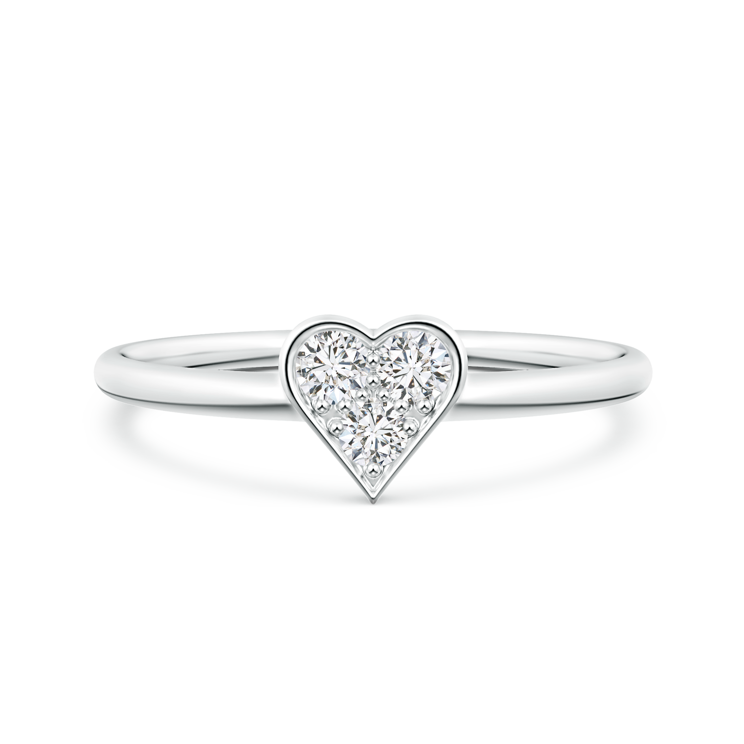 Pave Set Lab Grown Diamond Heart Promise Ring  - Main Image