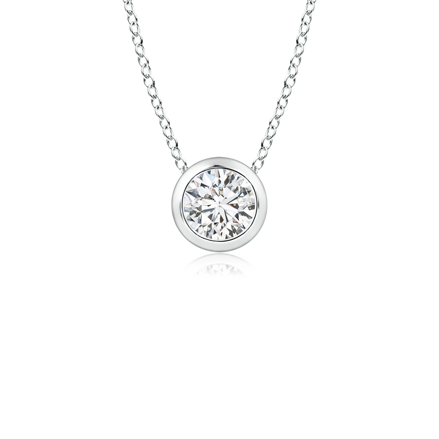 amz cz silver pk sterling set necklace bezel bling pendant solitaire jewelry az round
