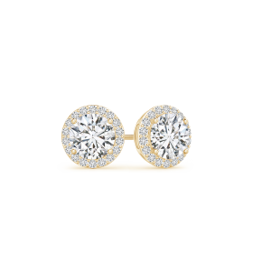 Vintage Inspired Round Lab Grown Diamond Halo Stud Earrings
