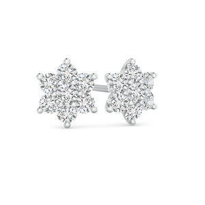 Flower Shaped Lab Grown Diamond Cluster Stud Earrings