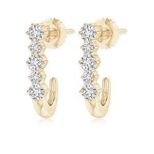 Five Stone Lab Grown Diamond J-Hoop Earrings
