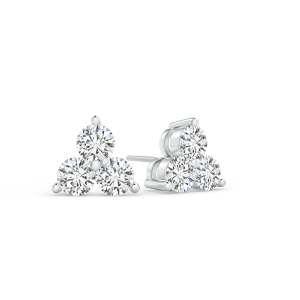 Prong Set Round Lab Grown Diamond Three Stone Stud Earrings