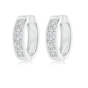 Channel Set Round Lab Grown Diamond Hoop Earrings