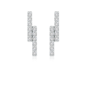 Lab Grown Diamond Double Uneven Bar Stud Earrings