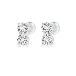 Round Lab Grown Double Diamond Stud Earrings