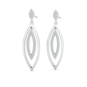 Lab Grown Diamond Elongated Double Marquise Drop Earrings