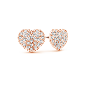 Pave Set Lab Grown Diamond Heart Stud Earrings