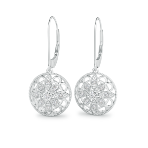 Lab Grown Diamond Lattice Drop Earrings with Milgrain Edges