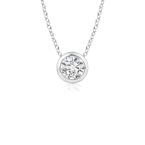 Bezel Set Round Lab Grown Diamond Solitaire Pendant