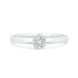 Bezel-Set Solitaire Round Lab Grown Diamond Stackable Ring