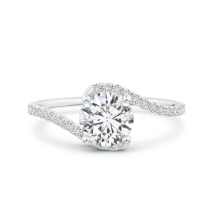 Round Lab Grown Solitaire Diamond Bypass Ring with Twisted Shank