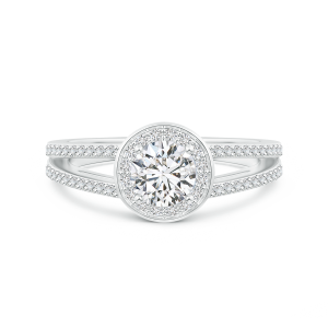 Round Lab Grown Diamond Split Shank Ring with Halo