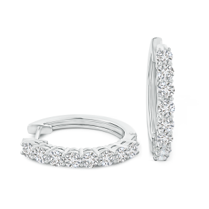 Hinged Clip Lab Grown Diamond Hoop Earrings