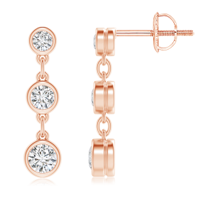 Three Stone Lab Grown Diamond Drop Earrings