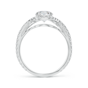 Vintage Inspired Lab Grown Diamond Split Shank Halo Ring