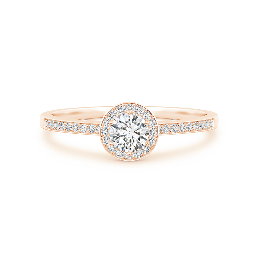 Lab Grown Diamond Round Halo Engagement Ring