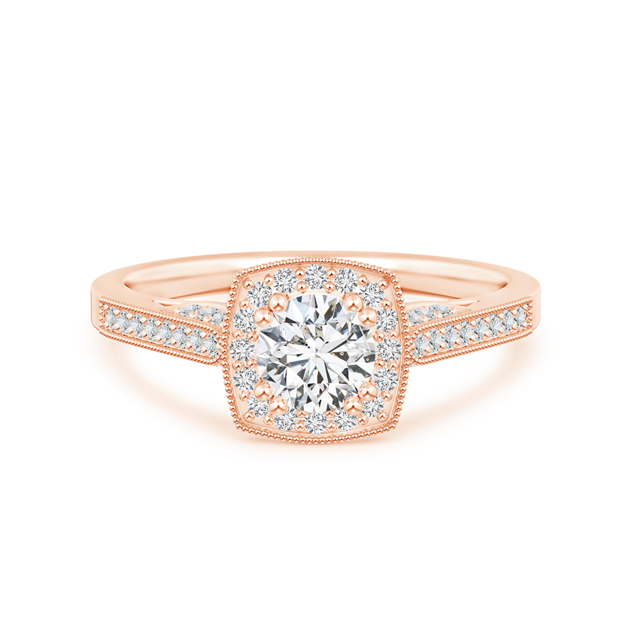 Round Lab Grown Diamond Halo Ring with Cushion Frame and Milgrain Detailing