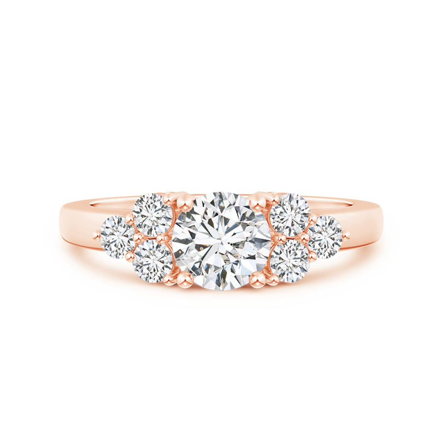 Round Lab Grown Diamond Solitaire Ring With Trio Accents