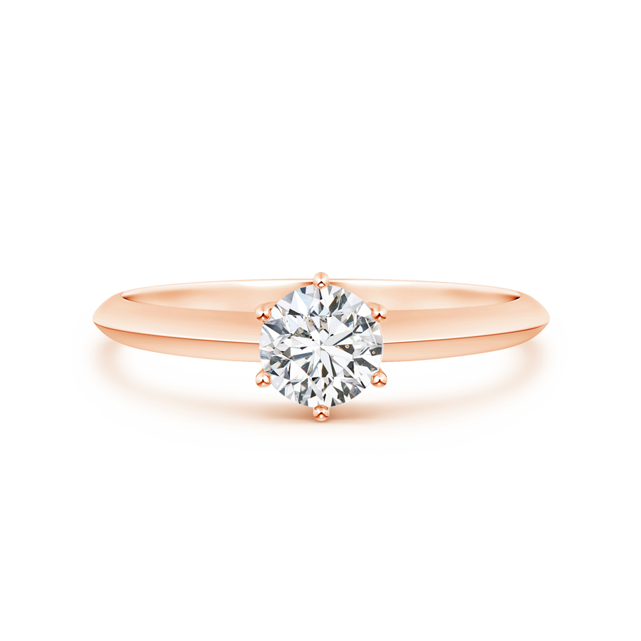 Six-Prong Round Lab Grown Diamond Solitaire Engagement Ring