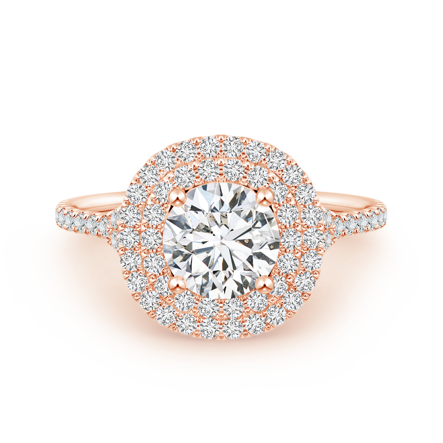 Lab Grown Diamond Cushion Double Halo Engagement Ring