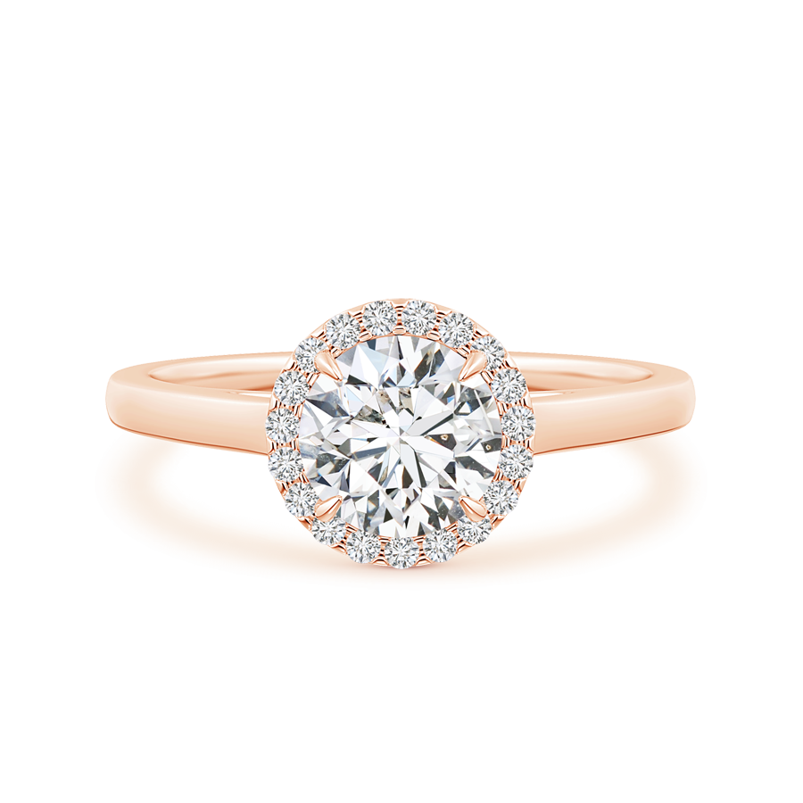 Cathedral Round Lab Grown Diamond Halo Ring with Claw-Setting