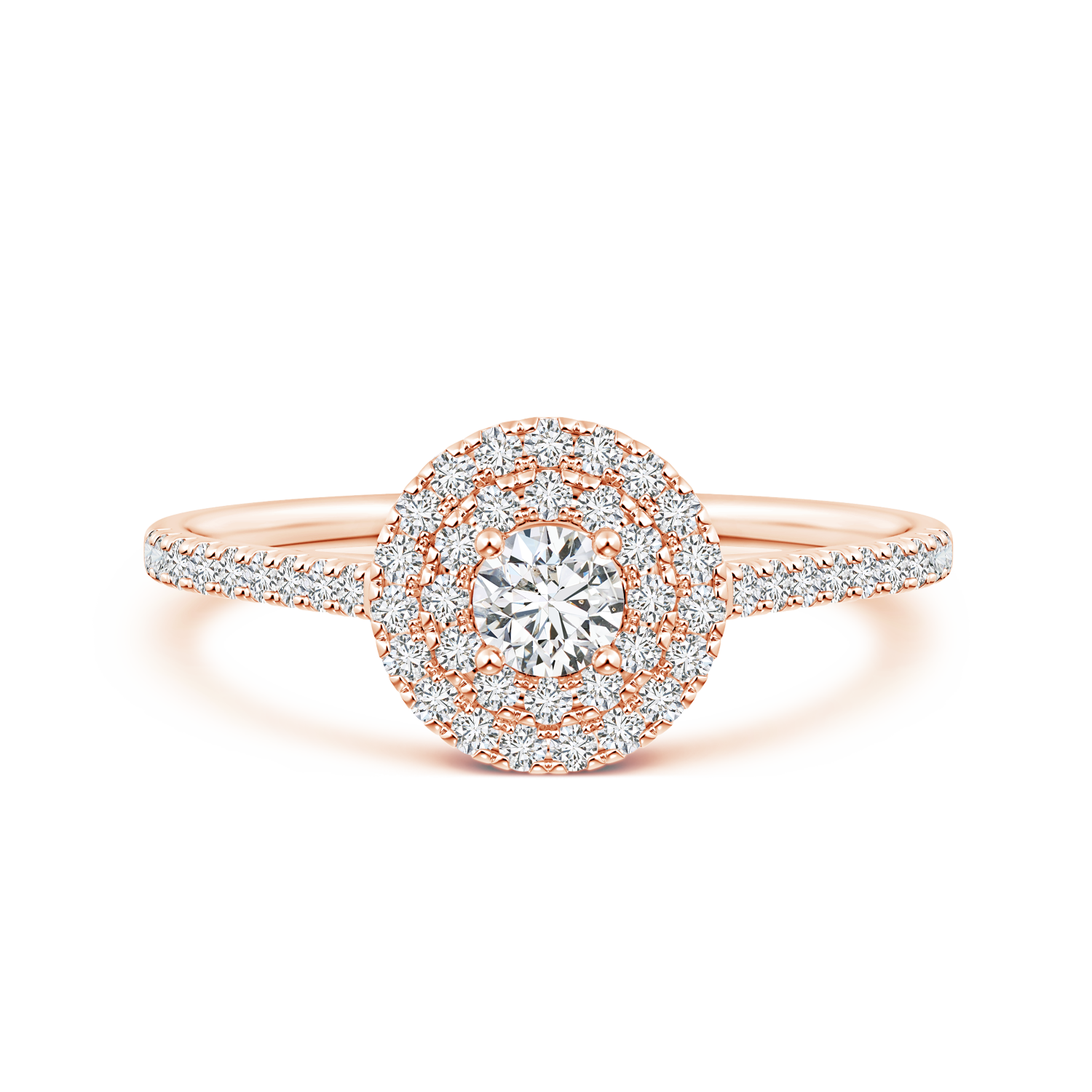 Round Lab Grown Diamond Double Halo Engagement Ring